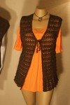 Brown Lacey Sleeveless Long Jacket