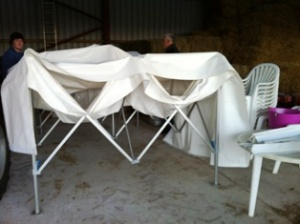 marquees down for respite from wind