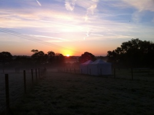 marquees in sunrise